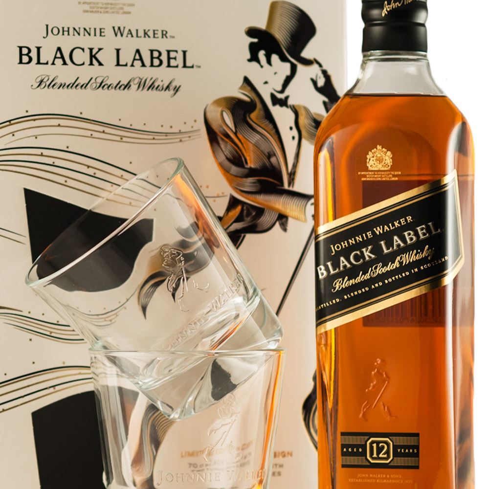 WHISKY BLENDED J. WALKER BLACK LABEL GIFT PACK 2 COPOS 70CL