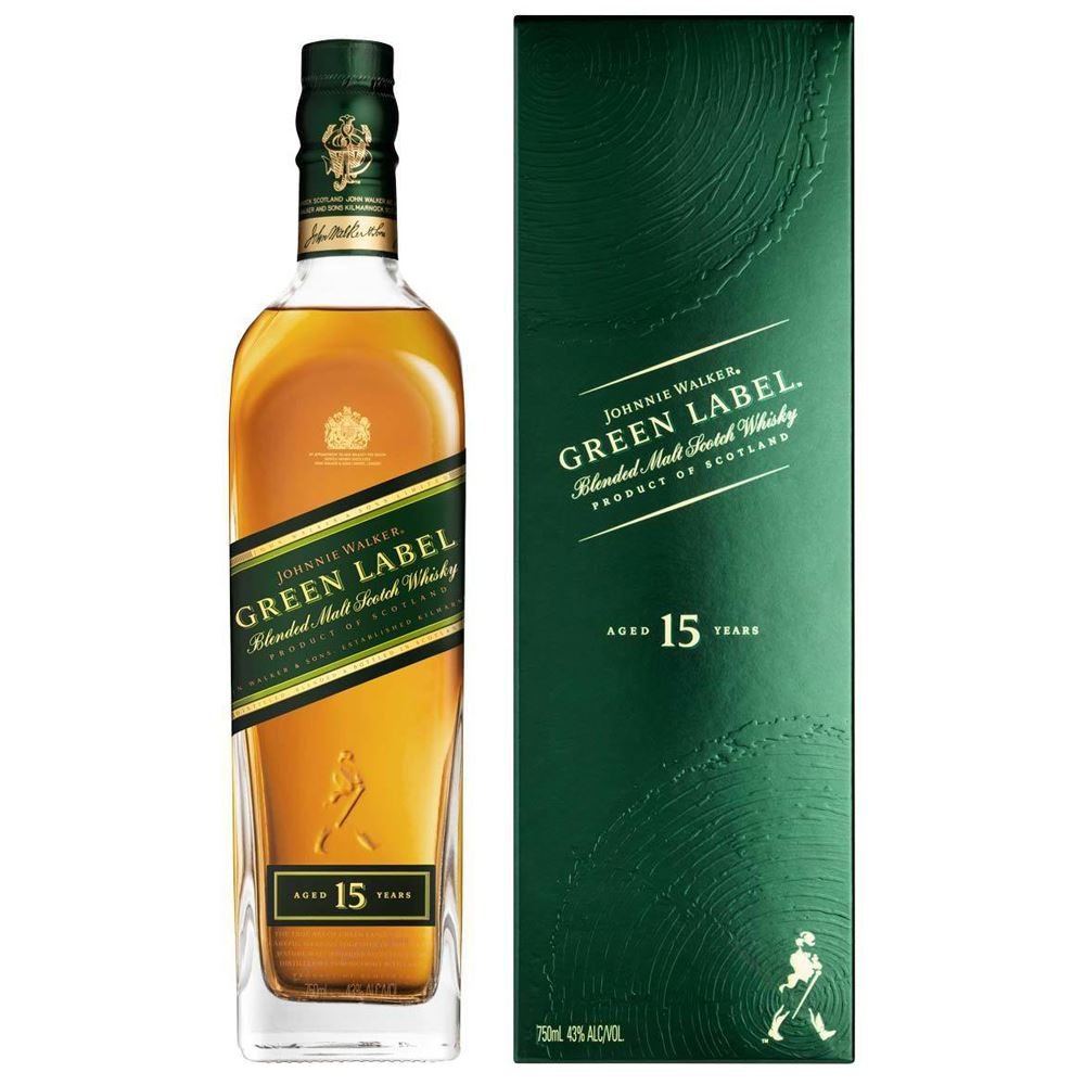 WHISKY BLENDED JOHNNIE WALKER GREEN LABEL 15 ANOS ESCÓCIA 70CL