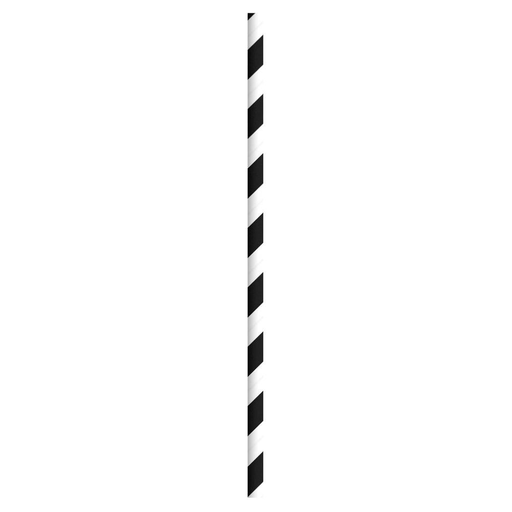 PAPER STRAW BLACK & WHITE 20CM 6MM BORE PCK 250UN